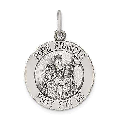 Medalla de Papa Francisco de Plata de Ley envejecida y cepillada