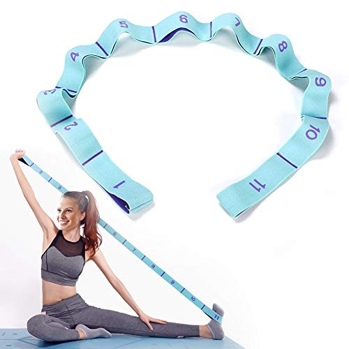 DEHUB Yoga Stretching Band, Gymnastikband mit 11 Schleifen,Yoga Stretch Gurt,Leicht zu Tragender und Hochelastischer Widerstandsbänder,Deal für Yoga, Körperliche Therapie, Größere Flexibilität.