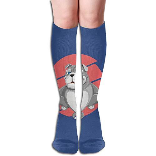 Calcetines largos de compresión con diseño de bulldog ingleses grises y elásticos, 50 cm, para deportes