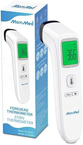 MomMed Termometro Digital, Termómetro Infrarrojo Sin Contacto Para Niños y Adultos, Termómetro Digital Con Pantalla LCD, con Alarma de Fiebre y Función de Recuperación de Memoria.
