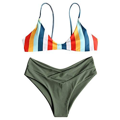 ZAFUL Damen Navy und Orange gestreifter Farbblock mit hochgeschnittenem Bikini Set (L, Hazel GRÜN)