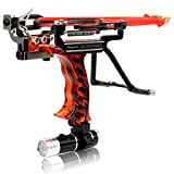 COOY Slingshot - Professional Outdoor Catapult Stainless Steel Launcher Double Spring Wrist high Speed Rocket Hunting Slingshot Adult, with 2 Rubber Bands, Outdoor Catapult Set(Fire-Red)