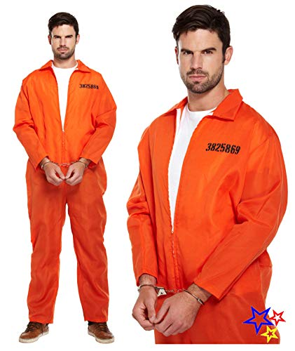 prisoner overalls fancy dress costume for men