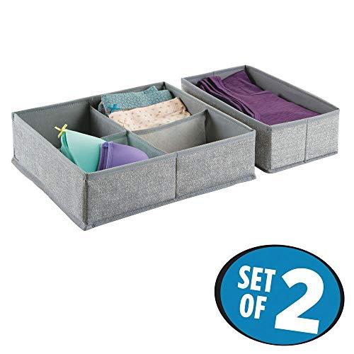 mDesign Schubladen Organizer – 2er-Set Stoff Aufbewahrungsboxen für Kleiderschrank oder Kommode – Schubladeneinsätze mit 5 Fächern für Socken, Unterwäsche, BHs etc. – grau