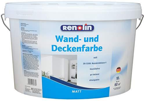 Renolin Wand- und Deckenfarbe 10L 60m² Wandfarbe Farbe Innenfarbe Wilckens weiß