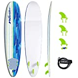 Wavestorm Classic Soft Top Foam 8ft Surfboard | Surfboard for Beginners and All Surfing Levels | Complete Board Set Including Accessories | Leash and Fins, Blue Brushed