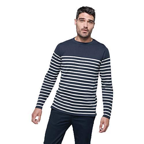 noTrash2003 Herrenpullover Ringelshirt Marine-Stil Breton Shirt Pullover Streifen Shirt Navy/Weiß maritim sportlich S-3XL (M)