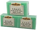 Glamorous Hub Khadi India Herbal Pure Aloevera Jabón de baño de glicerina ayurvédica hecho a mano, paquete de 3 x 125 g (el embalaje puede variar)
