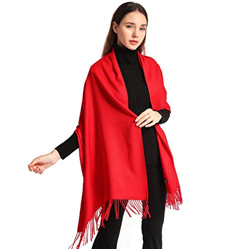 EASE LEAP Bufanda Mujer con Tacto Cachemira Fiesta Chal para Boda Suave Pashmina 200 * 70cm/(Rojo)
