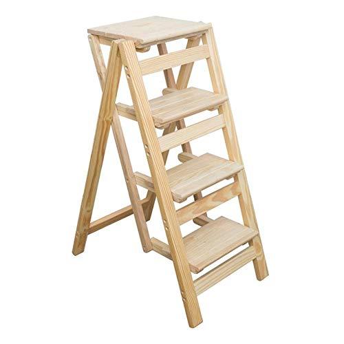 Taburete de escalera de madera maciza, escalera plegable de color madera, estantes y estantes de madera multiusos