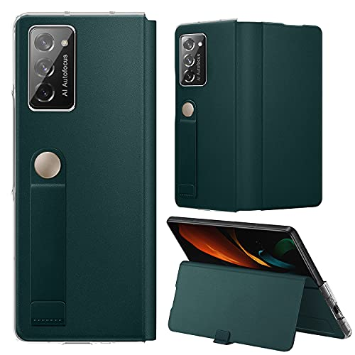 Vizvera kompatible Samsung Galaxy Z Fold 2 5G Hülle, Galaxy Z Fold 2 5G Lederhülle, Handschlaufe Halterung Hülle Superdünne, schlanke, langlebige Schutzhülle für Samsung Galaxy Z Fold 2 -Grün