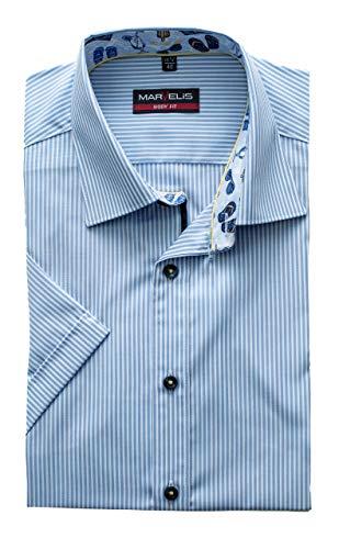 Marvelis Hemd Body Fit Kurzarm, Bügelleicht, Streifen blau, ausgeputzt, New Kent Kragen, 100% Baumwolle (41)