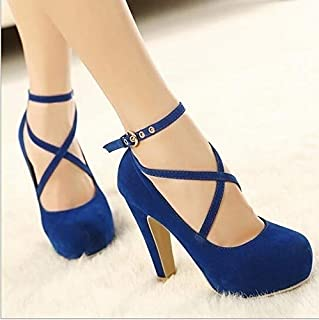 Women Party Vintage High Heels Fashion Casual Shoe Pumps Sweet Cross Buckle Strap Sexy Women Shoes(Blue,42)
