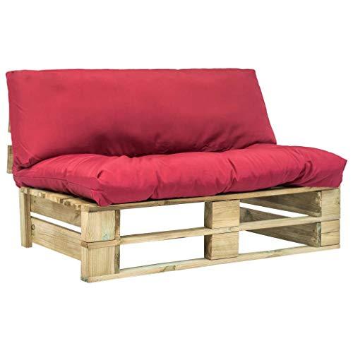 vidaXL Holz Palettensofa Rot Palettenkissen Paletten Sofa Polster In/Outdoor