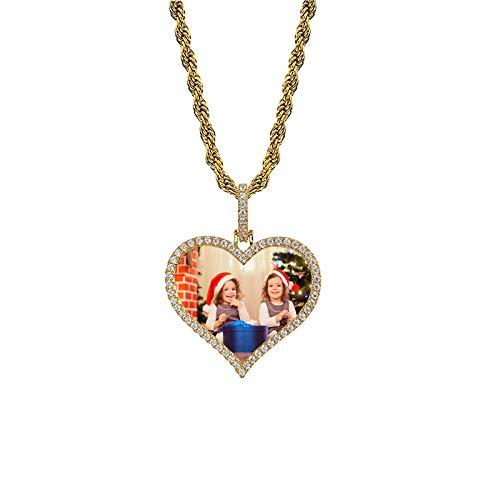 Collar de foto personalizado Collar de cobre Collar en forma de corazón Marco de foto Colgante Collar de hip hop Regalo para papá(Chapado en oro 22)