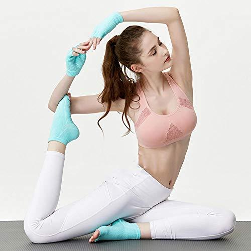 Guantes antideslizantes de algodón para mujer Calcetines de yoga de cinco dedos Calcetines de baile de compresión sin agarre Calcetines de verano Guantes protectores silicona Ejercicio estrés Pilates