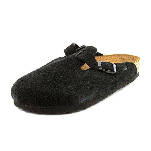Birkenstock Unisex Boston Soft Footbed, Black Suede, 39 M EU