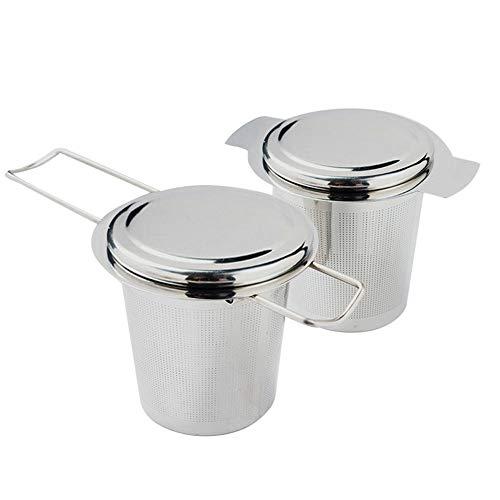 IWILCS Teesieb, 2 Stück 304 Edelstahl Tee Sieb, Teesieb mit Deckel, Teefilte, Premium Sieb mit Faltbare Griffgestaltung für Tee-Tasse Teekanne