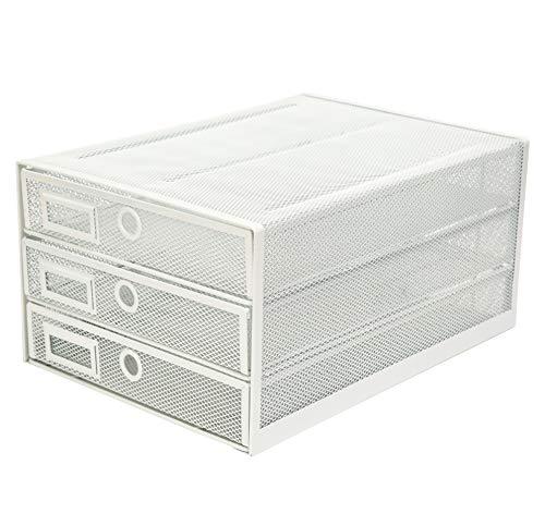 Exerz Cajón archivador de Oficina/Clasificador de Papel con 3 Cajones/Cajonera para archivadores/Organizador Para el Escritorio (Blanco)