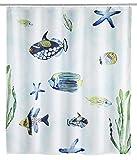 WENKO 23193100 Duschvorhang Aquaria, waschbar, wasserabweisend mit 12 Duschvorhangringen, Polyester, 200 x 180 cm, Mehrfarbig