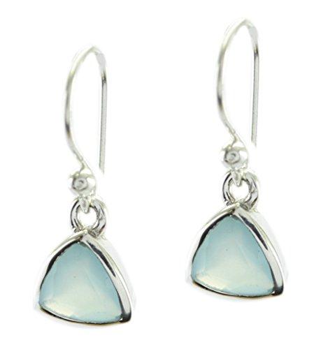 Aqua Chalcedon 925 Sterling Silber entzückende Designer Ohrring Geschenk de