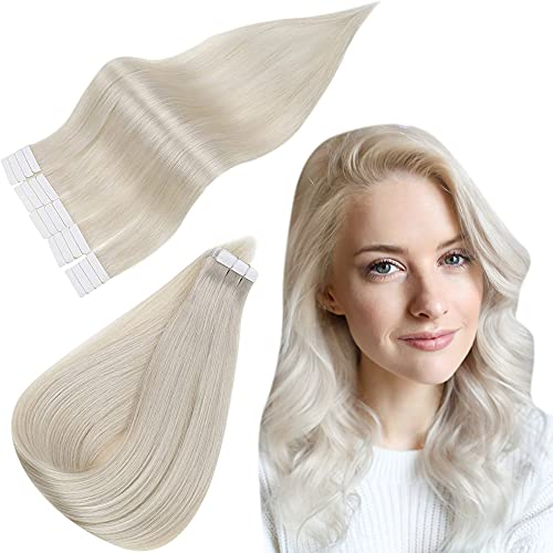 Easyouth Tape in Hair Extensions 100% Humain Cheveux Couleur White Blonde Extensions Cheveux Naturel Extensions de Cheveux Adhesif Remy Tape ins 12pouces 60g 40Pcs