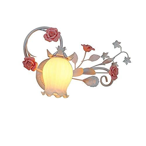 Aplique de pared floral Apliques de pared de estilo rústico Rural con pantalla de vidrio Apliques de pared Cerámica creativa Rose Floral Art Deco Lámpara de pared de estilo provenzal para dormitorio