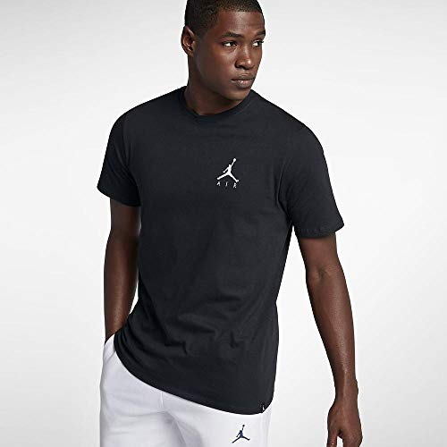 Nike Herren Jordan Sportswear Jumpman Air Embroidered T-Shirt, Black/White, L, schwarz, AH5296