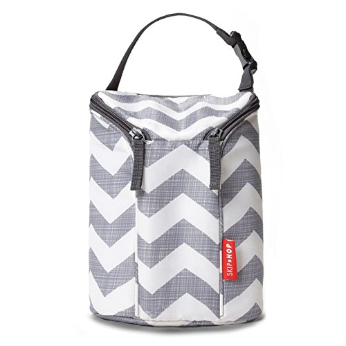 Skip Hop Insulated Breastmilk Cooler And Baby Bottle Bag, Grab & Go Double, Chevron