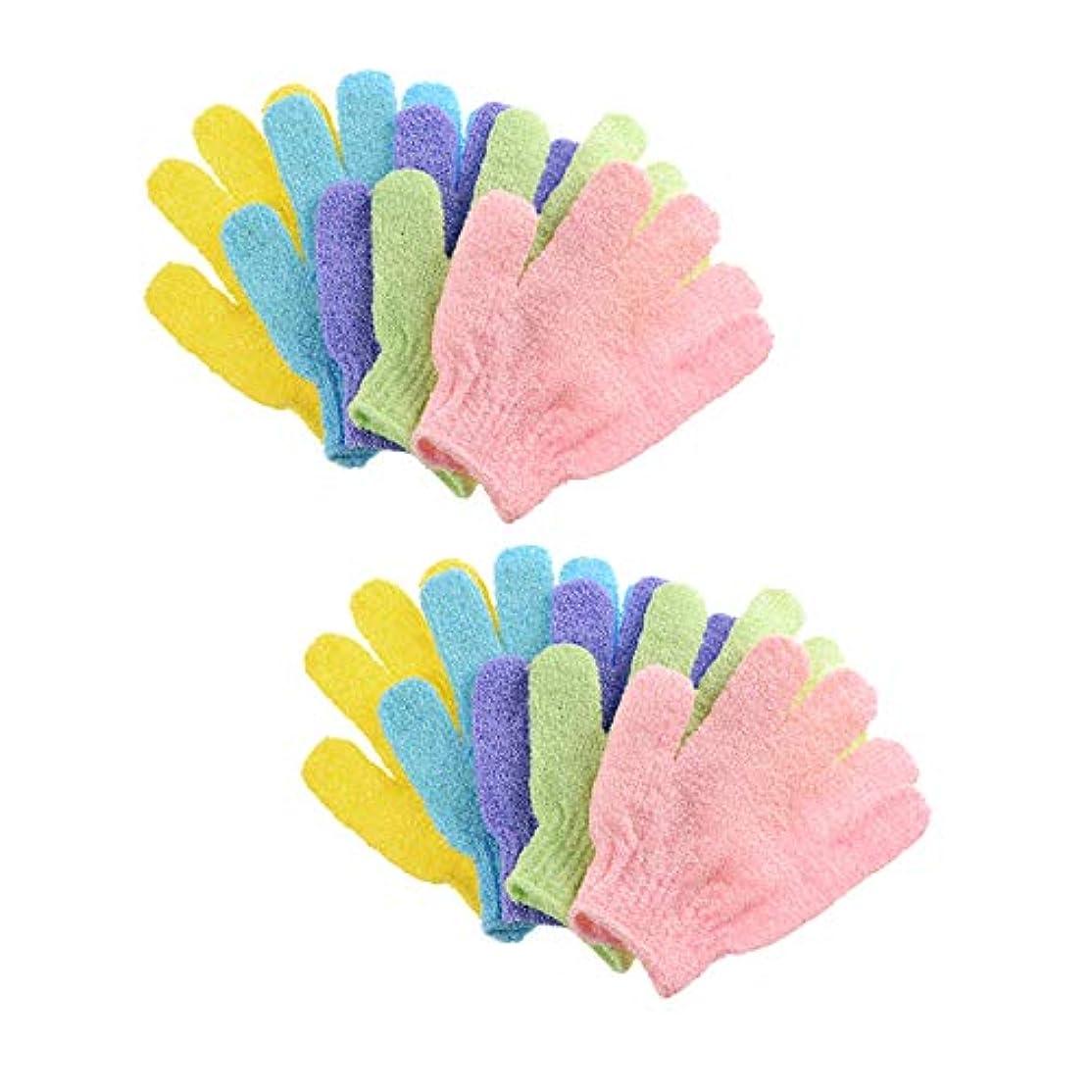光のカール判決浴用手袋 入浴用手袋 お風呂用手袋 5ペア角質除去バスグローブ 抗菌加工 ボディタオル シャワーボディーグローブ 両面スクラブバスグローブボディスクラブエクスフォリエーター用 男女兼用