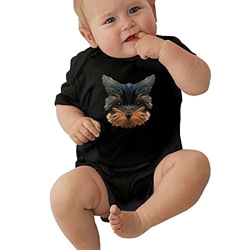 Inaayayi Body de bebé con diseño abstracto geométrico de perro con fondo naranja para bebés unisex de manga corta