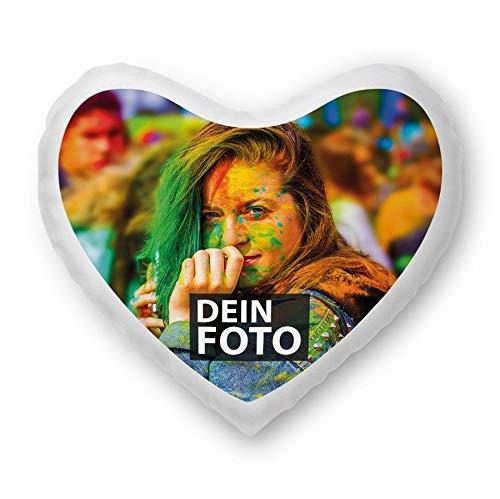 Tassendruck Foto-Kissen Selbst gestalten in Herzform - mit Foto individuell Bedruckt/aus 100% Polyester/Personalisierte Geschenk-Idee/Kopf-Kissen inkl. Füllung