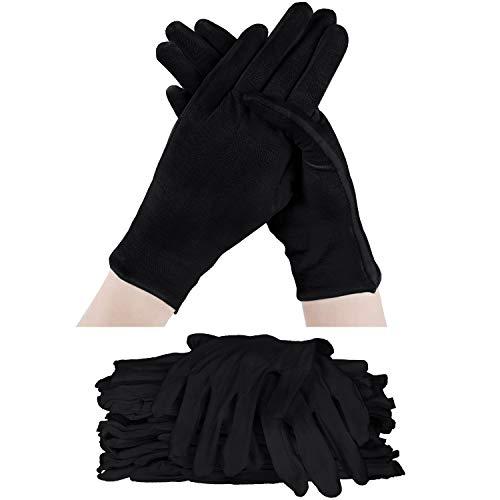 60 Stücke Halloween Kostüm Handschuhe Baumwolle Handschuh Weicher, Dehnbarer Arbeitshandschuh Wiederverwendbarer Großer Handschuh (Schwarz)