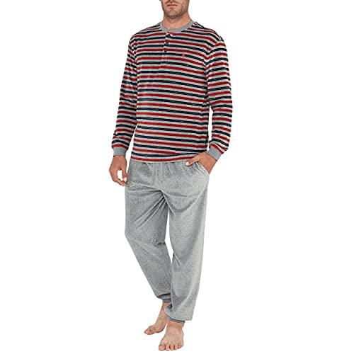 El Búho Nocturno - Pijama Hombre Largo Terciopelo Rayas Granate y Gris 80% algodón 20% poliéster Talla 7 (XXXL)