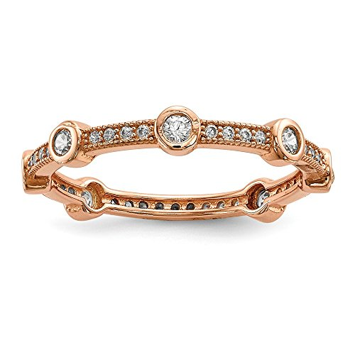 925 Sterling Silver Rose Gold Plated Cubic Zirconia Cz Band Ring Size 8.00 Eternity Fine Jewelry Gifts For Women For Her