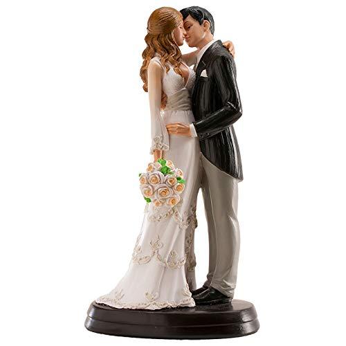 Dekora 305058 Umarmendes Brautpaar Figur für Hochzeitstorte 18 cm, Weiß
