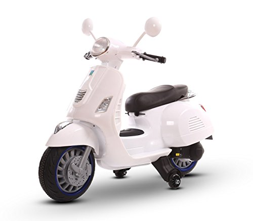 LT 858 Scooter eléctrico para niños HAPPY doble velocidad monoplaza 6/12V (Blanco)