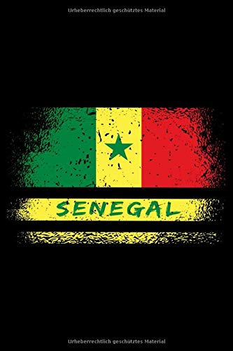 Senegal Flaggen Notizbuch: Schönes Senegal Vintage Flaggen Notizbuch mit 120 karierten Seiten im A5 Format