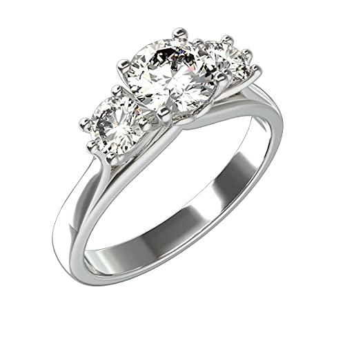 Anillo de aniversario de plata de ley 925 chapado en oro con diamantes simulados de corte redondo de 1,9 quilates Anillo de boda de tres piedras para mujer (tamaño del anillo 55)