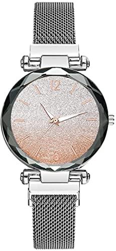 JZDH Reloj de Pulsera, Reloj de Damas literales de Color Degradado. Aleación + Correa de Milán. Dial Redondo de 33 mm