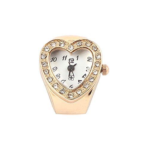 Anillo de dedo Dial Elastic Band corazón del reloj análogo US 4 1/4 color cobre