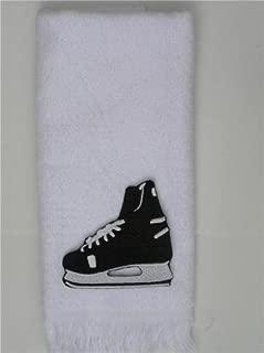 Ice hockey skate blade towel white man boy skater skating