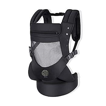 Porte-bébé ergonomique 3D Mesh super duveteux, enveloppant/respirant. 4 positions avec capuche amovible/réglable, de 4 mois à 18 kg. Porte bebe 100 % coton de qualité.Marsupio bebe Style universel.