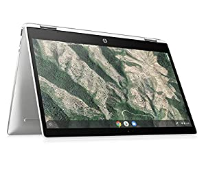 "immagine di HP - PC Chromebook 14b-ca0000nl Convertibile, Intel Celeron N4000, RAM 4 GB, eMMC 64 GB, Sistema Operativo Chrome OS, Google Play Store, Schermo Touch FHD 14"", Bang&Olufsen, USB-C, Argento"