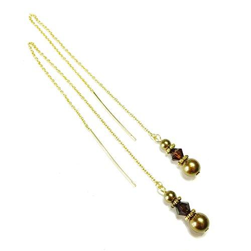 Ohrringe Durchzieher 14K Gold Vermeil mit Swarovski-Kristallen und Perlen - Antike Bronze & Mokka