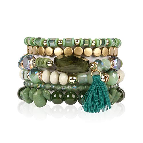 RIAH FASHION Coin Bead Multi Layer Versatile Statement Bracelets - Stackable Beaded Strand Stretch Bangles Sparkly Crystal, Tassel Charm (Green)