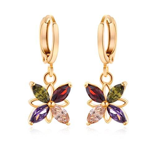 Yazilind oro 18K plateó los pendientes de circonio cúbico del embutido encantador de la flor del aro cuelga para regalo de las mujeres Multicolor
