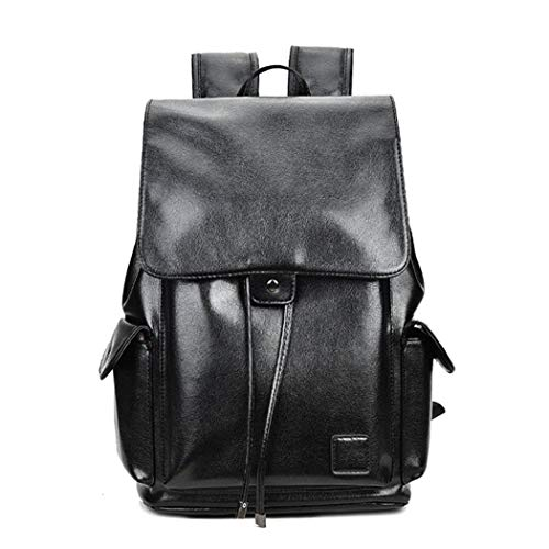 Famous Boys Black Bags Leather School Backpack Bag for College Simple Design Casual Daypacks Black