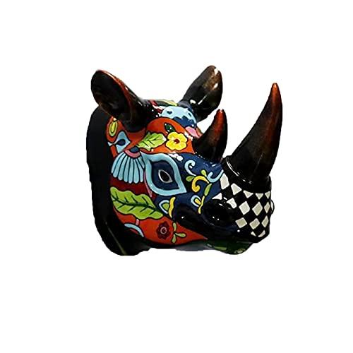Decoración de Pared de Cabeza de Toro, decoración Occidental, Escultura de Pared de Animal de Resina para Interiores, decoración Colgante de Estatua de Cabeza de Rinoceronte de Cabeza-B