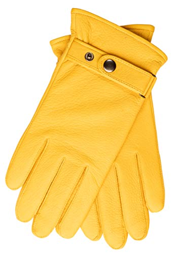 EEM Herren Leder Handschuhe PATRICK aus echtem Hirschleder mit Kaschmir-Woll Futter; gelb, L